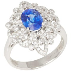 Certified 2.2ct Sapphire and Diamond Platinum Ring