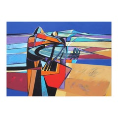 Navajo Native American Abstract Blue, Red, and Orange Landscape Painting