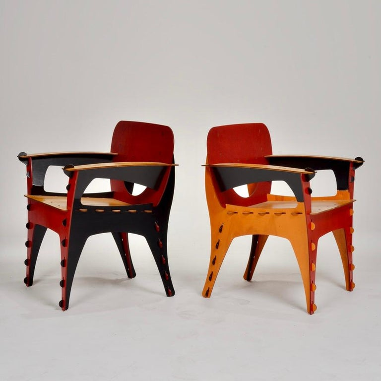 Post-Modern David Kawecki Puzzle #1 Chairs '40 Available' For Sale