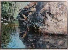 Large Acrylic Photorealist Painting Nature Scene Water & Light David Kessler