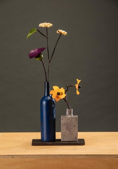 Bronze and Steel Sculpture by David Kimball Anderson 'Blue Bottle Summer'