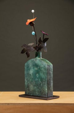 Bronze and Steel Sculpture by David Kimball Anderson 'Green Bottle Summer'
