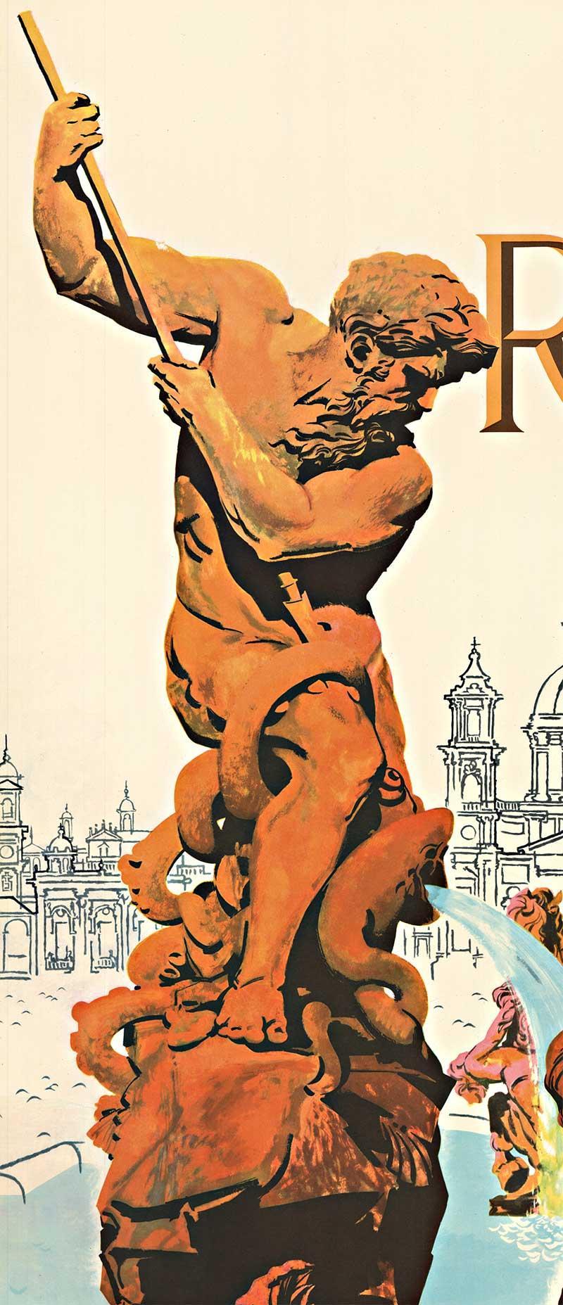 Original earliest Rome via TWA vintage travel poster