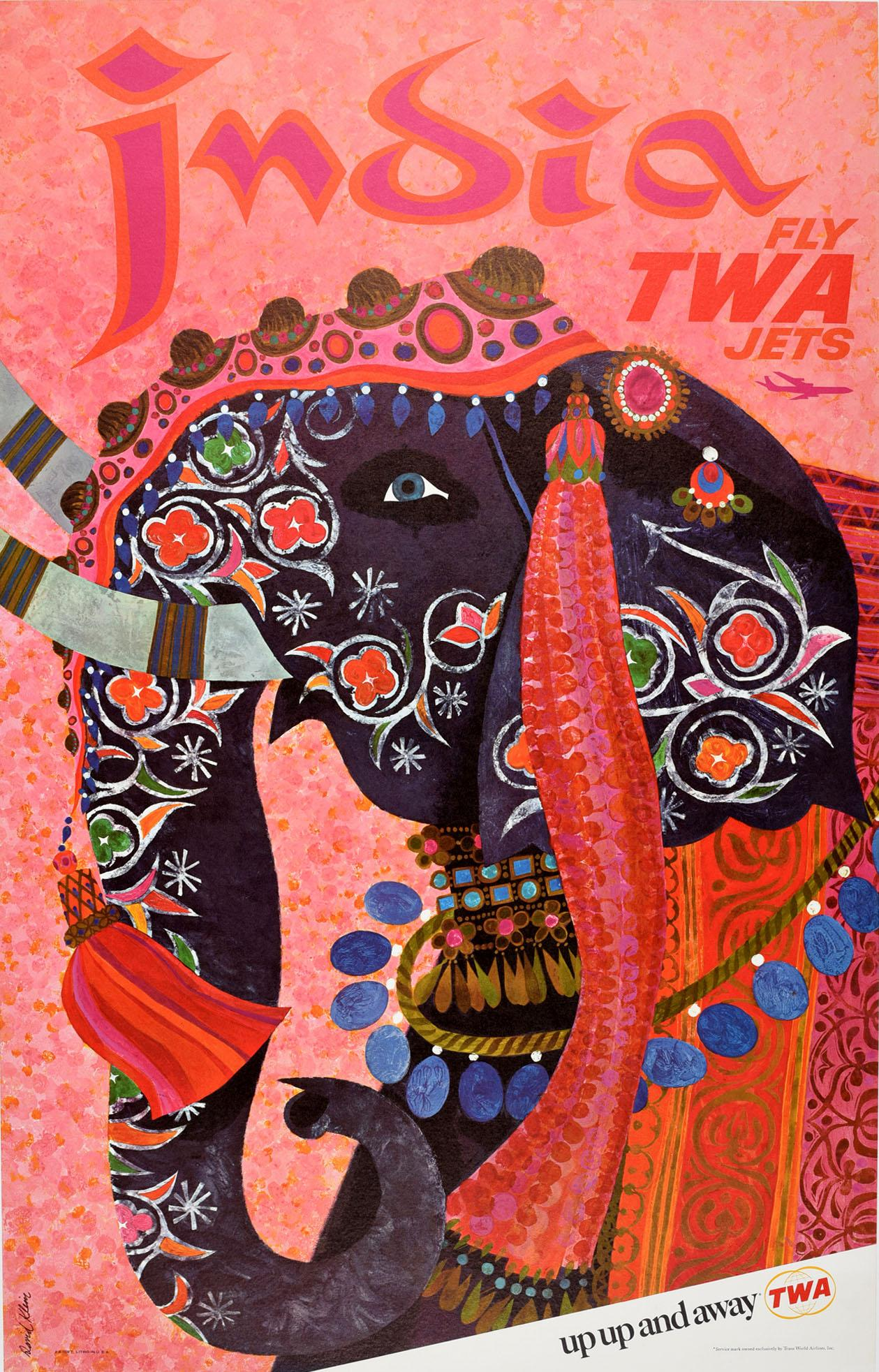 Original Vintage Air Travel Poster India Fly TWA Jets Up & Away Elephant Design