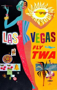 Original Vintage Las Vegas Fly TWA Poster By David Klein Trans World Airlines