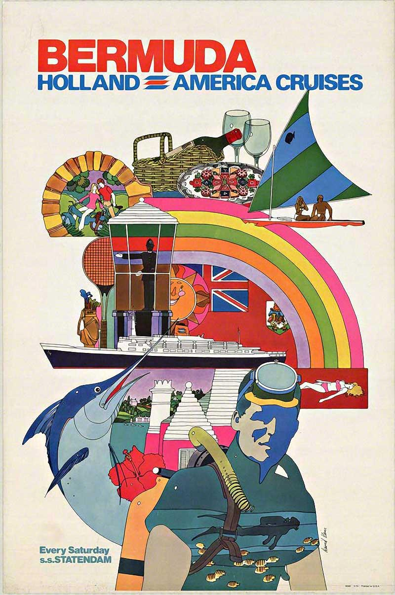Bermuda Holland America Cruises original vintage travel poster