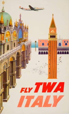 Original Vintage Travel Poster By David Klein - Fly TWA Italy - Featuring Venice