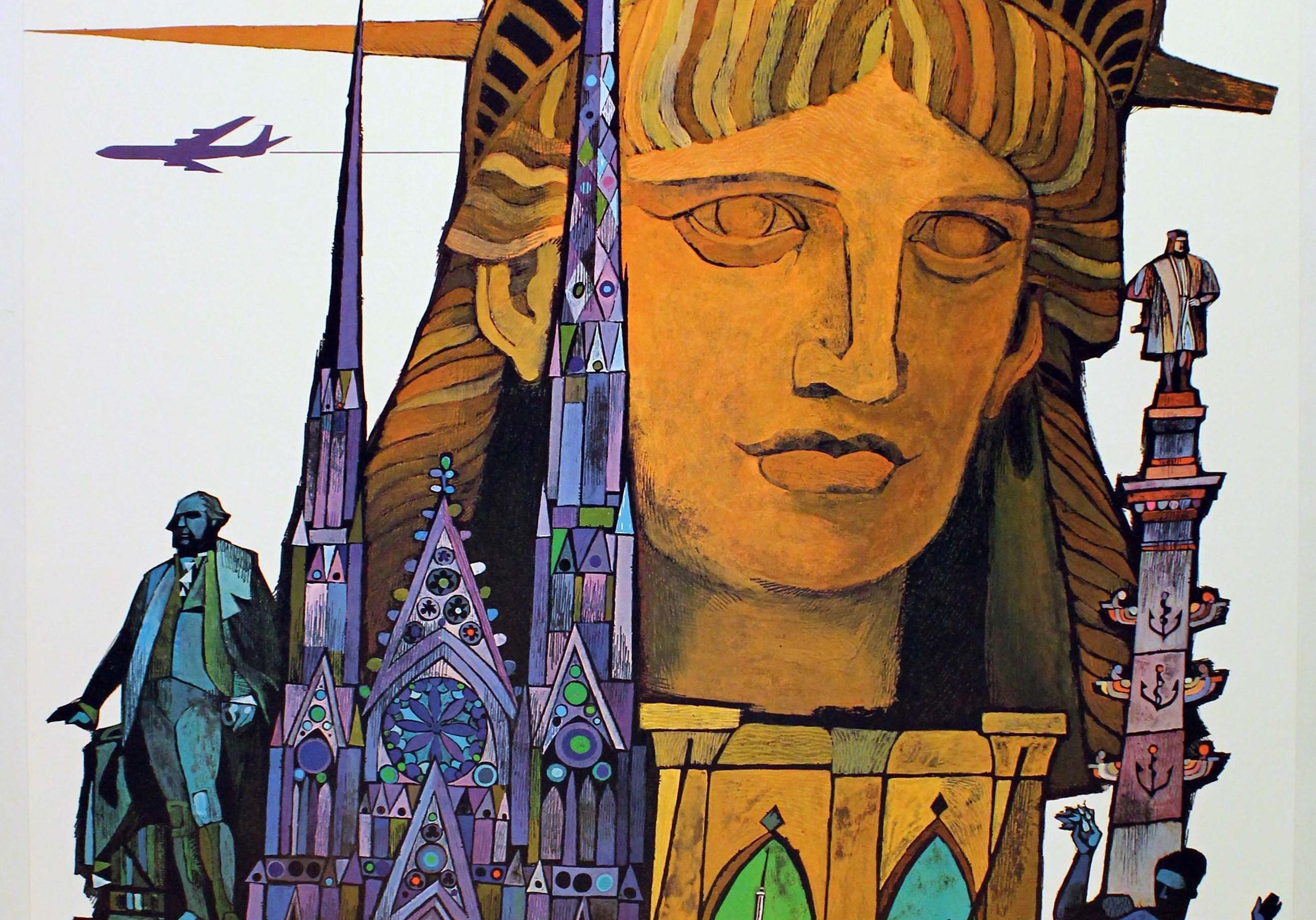 David Klein Original Vintage Travel Poster By David Klein New York Fly Twa Statue Of Liberty At 1stdibs