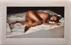 White Linen. Female Nude Reclined On Bed. Original Painting. Welsh Artist.