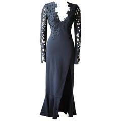 David Koma Ruffled Guipure Lace and Stretch Crepe Maxi Dress
