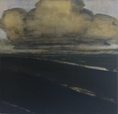 Approaching, Landscape Painting, Gray, Ivory Clouds Over Black Road, Green Field