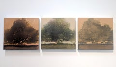 Arboreal Triptych, Landscape Painting of Three Trees in Dark Green, Brown, Coral