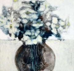 Arrangement, Still Life Painting of Ivory and Blue Flowers in Brown Vase