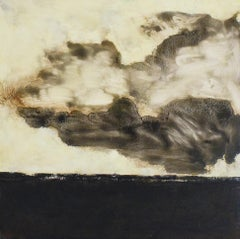 Black Dirt (Abstract Landscape Painting of White Clouds Over a Dark Field)