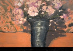 Black Vase, Botanical Still Life Painting of Vase with Pink Flowers on Orange
