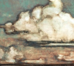 Clouds Over Greenport, Landscape Painting of Ivory Clouds in Coral and Mint Sky