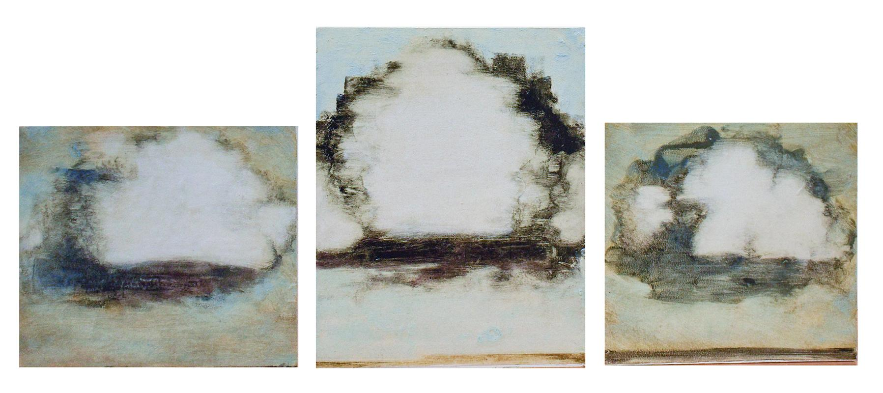 Clouds Triptych (Three Small Contemporary Landscape Paintings on Panel)