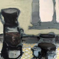 Coffee (12 inch Contemporary Still Life of Coffee Pot on Kitchen Countertop)