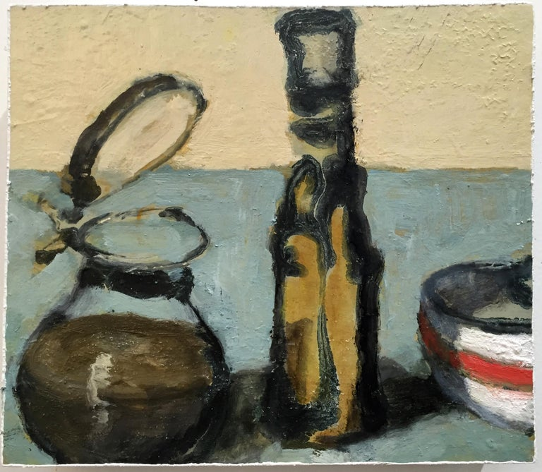 David Konigsberg Figurative Painting - Countertop Vessels #2 (Charming Contemporary Still Life of Olive Oil Cruet)