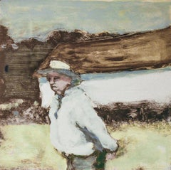 Del (Abstracted Figurative Painting of a Man in a Country Landscape)