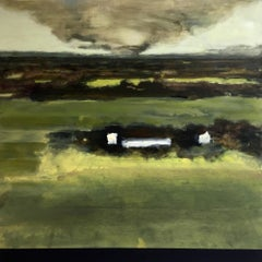 Distant Twister (Contemporary Landscape of Twister approaching Green Farmland)