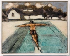 Diver 2 PM, Summer Landscape, Figure, Swimming Pool, Brown White House, Blue Sky