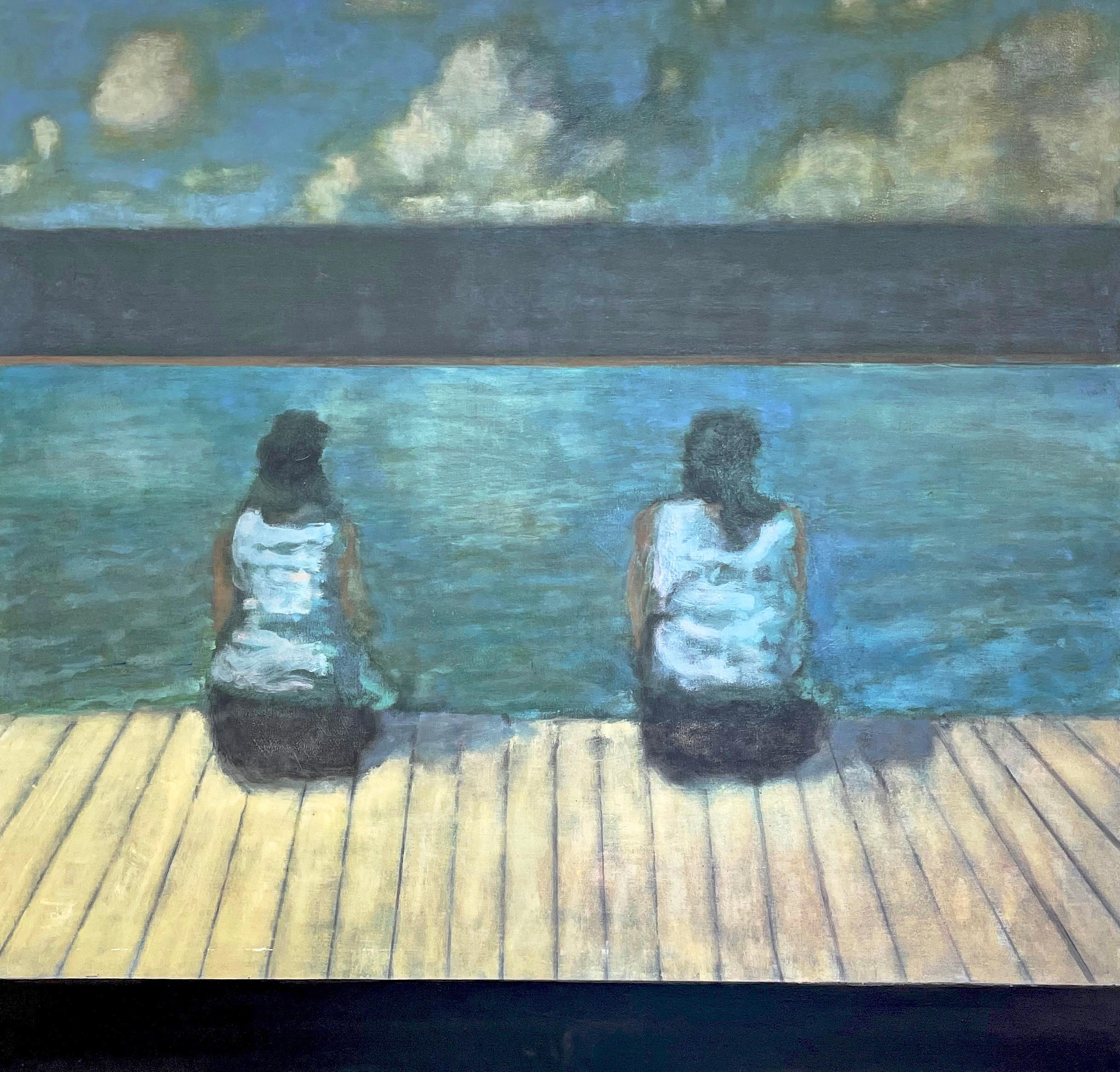 Dock (Figurative Painting of Two Women in a Turquoise River Valley Landscape)