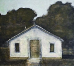Dusk I (Landscape Painting of a White Country Cottage by David Konigsberg)
