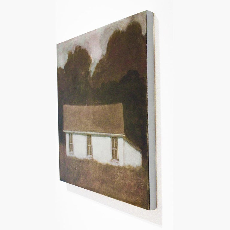 Dusk II (Oil Landscape Painting of a White Country Cottage by David Konigsberg) For Sale 1