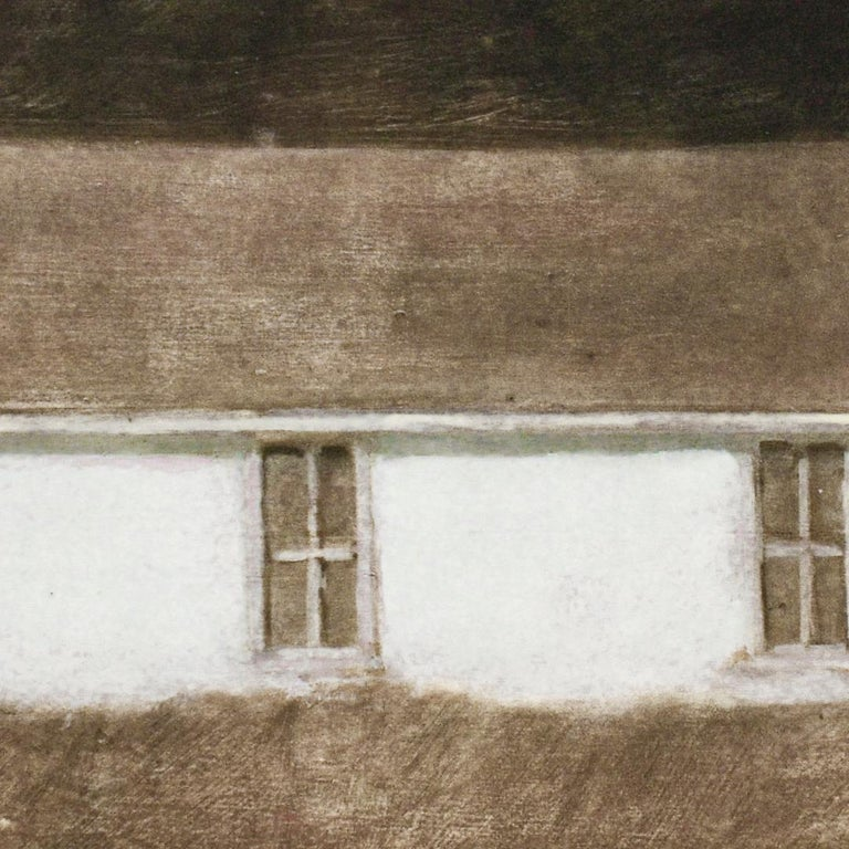 Dusk II (Oil Landscape Painting of a White Country Cottage by David Konigsberg) For Sale 2