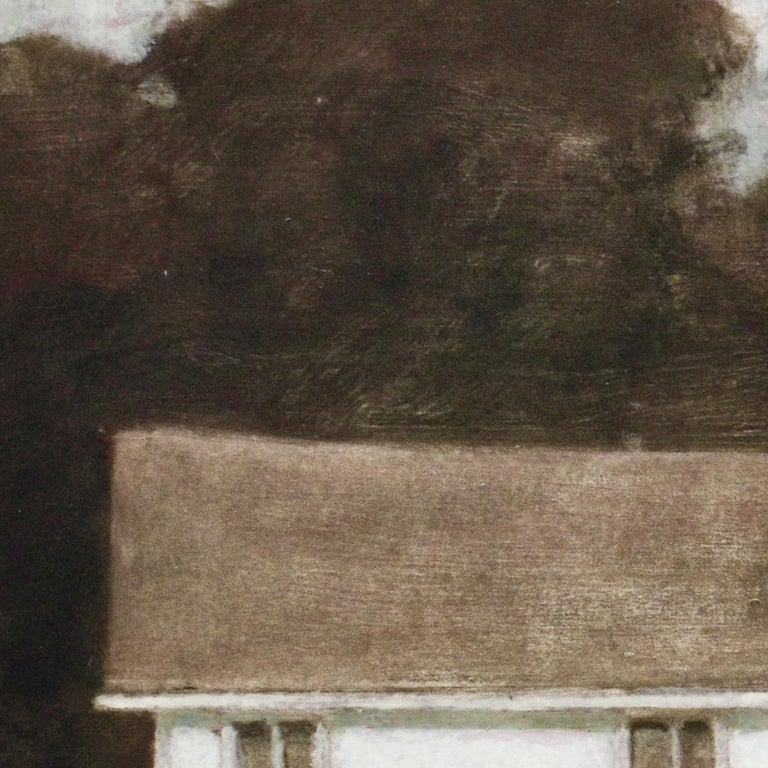 Dusk II (Oil Landscape Painting of a White Country Cottage by David Konigsberg) For Sale 3