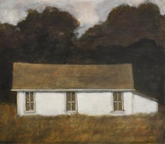 Dusk II (Oil Landscape Painting of a White Country Cottage by David Konigsberg)
