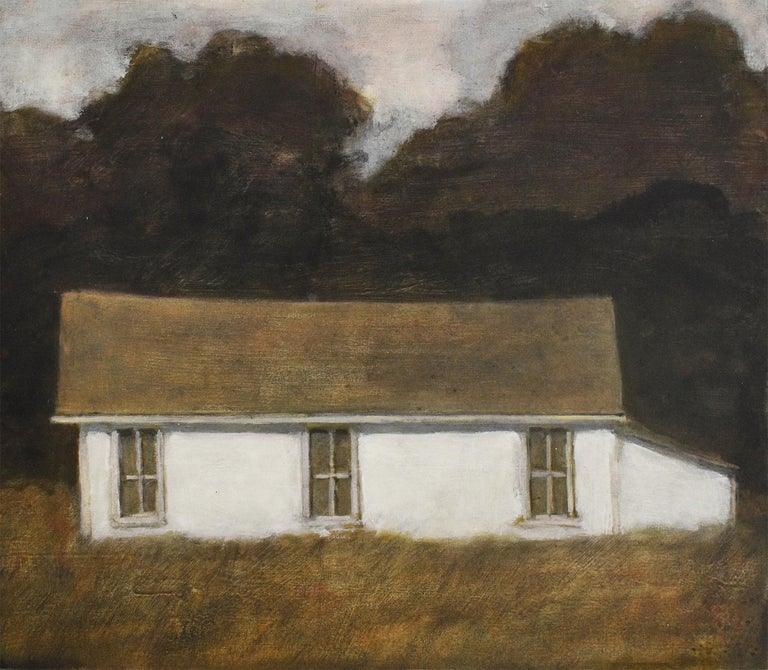 """Dusk II (Oil Landscape Painting of a White Country Cottage) by David Konigsberg 27"""" X 30"""" x 1.5"""",  oil on canvas unframed Signed, verso Painting is wired on reverse for simple hanging.  Sides of canvas are cleanly painted white, so framing is"""