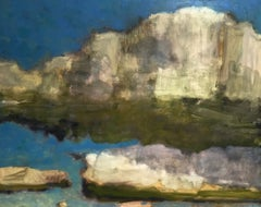 Eleven Forty-Five, Landscape Painting of Gold and Ivory Clouds in Light Blue Sky