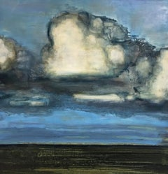 Field Late Afternoon, Blue, Cream, Green Landscape Painting Clouds in Sky Field