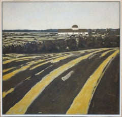 Fields and Distant Barn (Abstract Landscape of Country Farm by David Konigsberg)