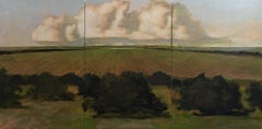 From the Orchard, Evening, Landscape Painting of Clouds, Sky, Gold, Green Field
