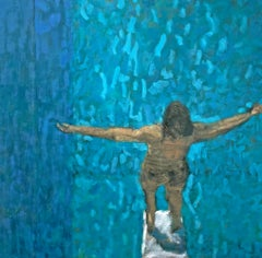 High Board (Impressionist Style Figurative Painting of a Figure & Blue Pool)
