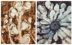 Hollyhock and Zin (Abstract Floral Painting Diptych in Brown and Blue)
