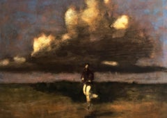 Jump Before the Little Woods, Landscape Painting of Figure with Sky and Field