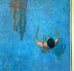 Laps: Impressionist Style Figurative Painting on Canvas of Figures in Blue Water