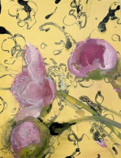Morning Peonies, Botanical Still Life Painting, Pink Peony Flowers on Yellow