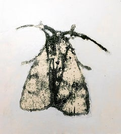 Moth Nine, Vertical Painting of Dark Gray, Black Insect on Off-white Background