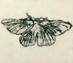Moth Seven, Painting of Winged Insect in Dark Gray, Black on Yellow, Off-white
