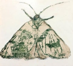 Moth Six, Horizontal Painting of Gray, Ivory Insect on Cream Background