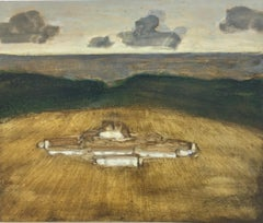 Mountain House, Landscape Painting of House in Golden Brown Field, Clouds in Sky