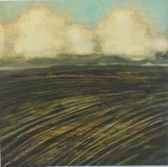 New Field, Landscape Painting of Ivory Clouds in Blue Sky, Gold and Brown Field