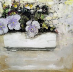 Pansies, Square Still Life, Lavender, Yellow, White and Green Flowers