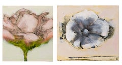 Pink Peony & White Pansy: Pair of Contemporary Miniature Floral Paintings, Panel