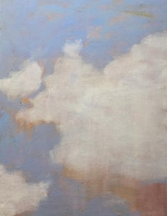 Summer Cloud One, Vertical Landscape Painting of Ivory Clouds, Pale Blue, Peach